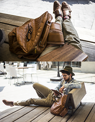 Bobby Raffin - Coach Leather Shoes, East Dane Ranger Hat - Leather and Wood