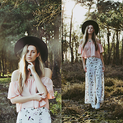 Jamie L ♡ - All Saints Hat, Style Moi Off Shoulder Crop Top, Style Moi Floral High Waist Palazzo Pants, Invito Shoes - I WANT TO BE THAT GIRL INSIDE YOUR WILDEST DREAMS