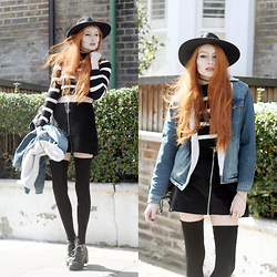 Olivia Emily - Catarzi Wide Brim Fedora, Asos Borg Lined Denim Jacket, Hearts & Bows Striped Cropped Jumper, Motel Riphon Cord Zip Skirt, American Apparel Thigh High Socks, Asos Black Lace Up Booties - Stripes & Zips.