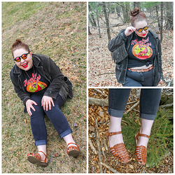 Bridie D. - American Eagle Outfitters Jeggings, Asos Sunglasses, Clarks Sandals, Vintage Jacket - DON'T CROSS THEM LINES