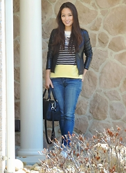 Kimberly Kong - Talbots Top, Ann Taylor Jacket, Bongo Jeans - The Nautical Stripe Top