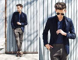Frank Lin - Zara Blue Blazer, Polo Ralph Lauren V Neck Pullover, Massimo Dutti Pants, Asos Shoes - RAYS OF SUN