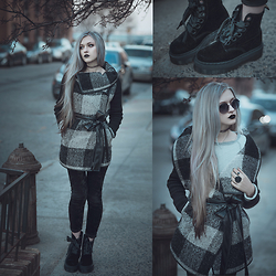 Anya Anti - Plaid Irregular Coat, Velvet Leggings, Dr. Martens Dr Molly Boots - Dark and tender