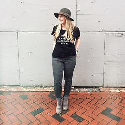 Britnie Harlow - Wildfox T Shirt, American Eagle Outfitters Camo Jeans, Forever 21 Felt Fedora, Nine West Ankle Boots - Take me somewhere sunny.
