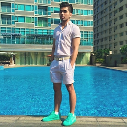 Christian Salonga - Ralph Lauren Plain White Shorts, Zara Short Sleeves Polo, Puma Mint Suede Sneakers - Phresh