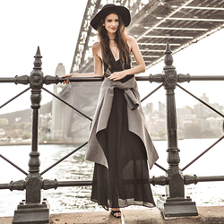 Elle-May Leckenby - Grey Coat, Black Cross Back Maxi Dress - Another day, another view