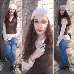Pauline - Forever 21 Beanie, Forever 21 Cotton Shirt - Pink & Brown on Denim
