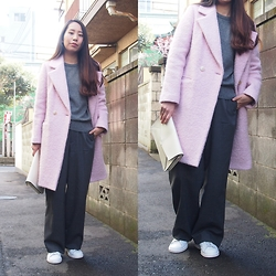 Yu Kuwabara - Kaon Pink Wool Boyfriend Coat, Toga Knit Pullover, G.V.G.V. Tailored Wide Leg Trousers,, Adidas Stan Smith - Pink on Gray Shades