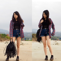 Joyce Tse - Forever 21 Fringe Backpack, Choker - Sunday Chill