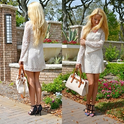 Andrea Jueong - Charming Charlie Bag, Charlotte Russe Shoes, H&M Dress, Forever 21 Necklace - Lace Beauty