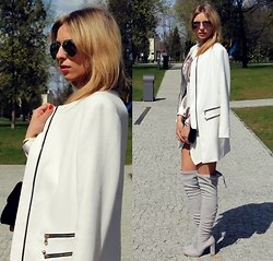 Sandra Kozłowska - Sheinside White Coat, Booci Boots - Thigh high boots