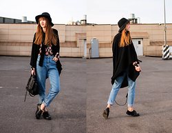 Nastia Poberezhna - Pull & Bear Black Hat, Forever 21 Floral Shirt, Shellys London Boots, New Look Satchel Bag - Little Witch