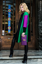 Elena Barolo - Edward Achour Paris Color Block Coat, Jbrand Skinny Leather Trousers, Aperlai Boots, Saint Laurent Clutch - Color block