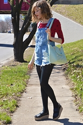 Lauren Douglas - Asos Denim Overall In Vintage Mid Wash, Modcloth Lets Posy Along Bag - Mint Green and Red <3