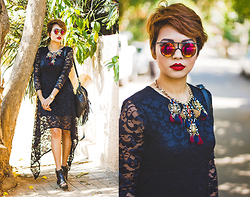 Nilu Yuleena Thapa - Style Moi High Low Lace Dress, Giant Vintage Leica Glasses, Chicwish Tassel Backpack - Contradiction