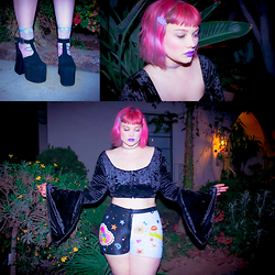 Isabel Hendrix - Unif Dame Platforms, Strathcona Stockings Magic Eye Sparkle Socks, Tunnel Vision Clippies, Tunnel Vision Clear Kitty Rhinestone Choker, Bad Vibes Something Wicked Bell Sleeve Top, Dirty Disco Hand Painted Vintage Leather Shorts - YOU DO YOU, BOO!!