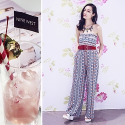 Ren Rong - Notice Mag Turquoise Necklace, American Rag Printed Jumpsuit, Accessorize Belt - Summer Escapade at Nine West SS15