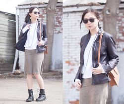 Sabrina Kwan - Combat Boots, Tweed Pencil Skirt, Faux Leather Jacket, White Sweater - Purple cow
