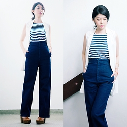 Megan Ng - Megagamie Straight Pants, Megagamie Long Line Vest, Zara Stripes Top - Sail-monday