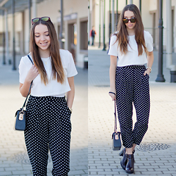Gabriela Grębska - Myred Crop Top, Walktrendy Polka Dot Pants, Sotho Necklace, Hawkers Co Sunglasses, Zara Maroon Boots, Lorus Watch, Black Satchel Bag - Polka dot pants