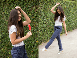 Michelle Santos Uzcategui - Bershka Dots Shirt, Tommy Hilfiger Dots Pants, Zara Silver Shoes - I love your funny face, your suunny, funny face!