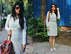 Surbhi Suri - Stalk Buy Love Crop Top, Stalk Buy Love Skirt, American Swan Bagpack, H&M Flats Shoes, Christian Dior Aviators - Inspired by Coachella
