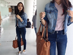Bea Cruz - Giordano Polo, Forever 21 Denim Jacket, Uniqlo Denim Pants, Forever 21 Chromatic Loafers, Forever 21 Bag, Dkny Wrist Watch - Double Denim