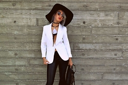 Sera Brand - She Inside White Boyfriend Ponte Rolled Sleeves Blazer, Jolly Chic Faux Leather Leggings - Another one bites the Dust