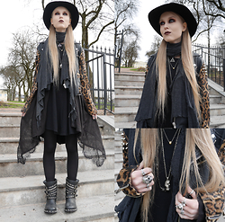 Mona&Linda Pedersen - Unif Jacket, Laird Hatters Hat, Ash Footwear Boots, Crazy Pig Designs Big Skull Ring, The Great Frog Small Skull Ring - Spellbound