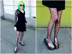 Ash Stash - Yru Chariot Platform Wedge, Foot Traffic Swirl Tights, Forever 21 Black Dress, Forever 21 Lace Top, Vinca Usa Gummy Bear Necklace, Vintage Circle Sunnies - Rainbow Swirls & Gummy Bears
