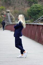 Joanne Christina Lewis - Missguided Pinstripe Blazer, Missguided Pinstripe Trousers, Converse Chucks All Stars - PINSTRIPE SUIT