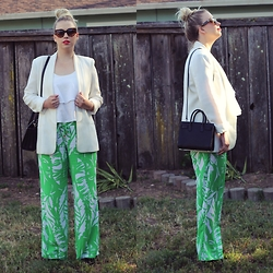 Hannah - Lilly Pulitzer Wide Leg Trousers, Saint Laurent Micro Sac Du Jour, Mural Boyfriend Blazer, Prada Sunnies, Paris House Crop Top - I Survived Lilly Pulitzer for Target