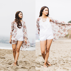 Martha Cabatic - Forever 21 Lace Trimmed White Top, American Apparel White Shorts, X Generation Floral Kimono - Beach What?