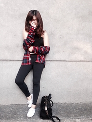 Dhea See - H&M Plaid Cotton Shirt, Cotton On Sneakers, Egg Bag, Forever 21 Top, So! You Eyeglasses - Hipster