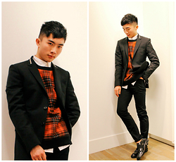 Jocelyn Yih - Givenchy Tartan Pull, Givenchy Zip Collar Blazer, Givenchy Zip Collar Shirt, Givenchy Black Suit Trousers, Givenchy Black Dress Shoes - Givenchy AW14 (#1 Look Galeries Layette Personal Shopping)