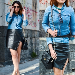 Deborah D - Choies Leather Skirt - Leather&Denim