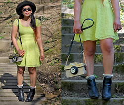 MyStyleStories X - H&M Lime Green Lace Dress, Accessorize Camera Bag, Marks & Spencer Fedora - Hashtag Novelty Bags