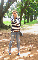 Julie Farrell -  - Boyfriend jeans and striped tees