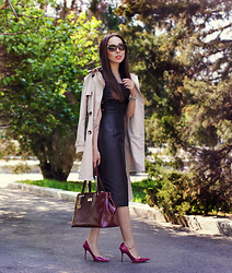 Altynai Imanova - Asos Dress, Dkny Bag, Jimmy Choo Heels, Burberry Sunglasses - Trench Coat & Black Dress