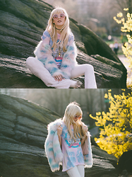 Rachel Lynch - Chaser Tie Dye Band Tee, Chaser White Bellbottoms, Nasty Gal Cotton Candy Coat, Wildfox Pink Sunnies - Cotton candy sunset