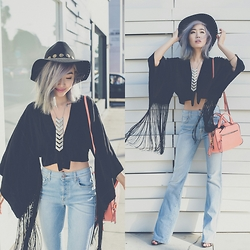 Ruby Park - Kerol D Achilles Hat, 2 Bandits Garden Tie Necklace, Incyda Cropped Kimono, Urban Expressions Satchel, 7 For All Mankind Flared Jeans - OOTD: Fringe and Flares