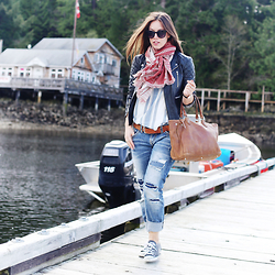 Alexandra G. - Aritzia Printed Scarf, Gentle Fawn Striped Top, Walter Baker Leather Jacket, Silver Jeans Ripped Boyfriend, Converse Low Top Sneakers - Weekend Cool