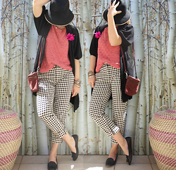 Artemis Leblog - Zara Vichy Pants, Nat & Nin Burgundy Bag, Naf Black Long Cardigan - Happy Days