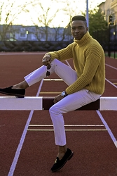 Igee Okafor - Warby Parker Sunglasses, Stile Benetton Roll Neck, Breda 1654a Wrist Watch, H&M Chinos, Mark Mcnairy Tcmfb Albert Slipper - Chunky | Mustard Yellow Is Better