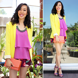 Sherry Lou - Sherry Lou Studio Tiered Top, Zara Blazer, Sherry Lou Studio Floral Shorts, Sherry Lou Studio Orange Bag, Forever 21 Wedges - Colors of Spring