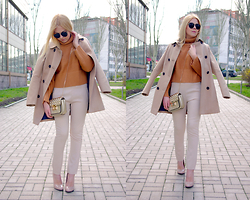 Kate F - Oasap Gold Studded Bag, Oasap Camel Sweater, Blackfive Sunglasses, Asos Beige Heels, Stradivarius Coat, Bershka Beige Pants - Shades of Beige