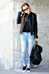 Aleksandra G - House Leather Jacket, C&A Backpack, H&M Slip On - Favorite black
