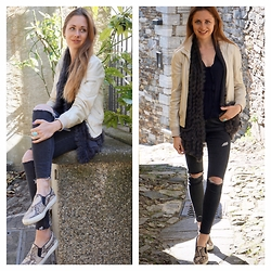 Eugenies - Topshop Jeans, Fur Vest, Leonardo Leather Jacket, Zara Shoes - Leonardo Jacket