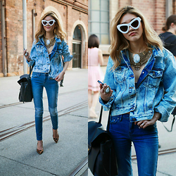 Bam It's Joanne - Louis Vuitton Lockme Bag In Noir, Samantha Wills Necklace, Samantha Wills Rings, Sunday Somewhere Sunglasses, Dricoper Denim Jacket, Jag Jeans, North West Cartel Bralette, Louis Vuitton Stephen Sprouse Shoes - Style