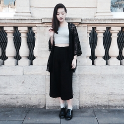 Anna S. - Asos Grey Crop Top, Vero Moda Culottes, Asos Black Oxfords, Asos Lace Tassel Kimono - The week before finals